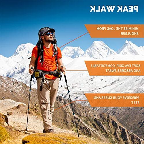 PEAK Trekking - 7.5 oz, 3K Carbon Collapsible Sticks Flip-Lock and - Pair Black