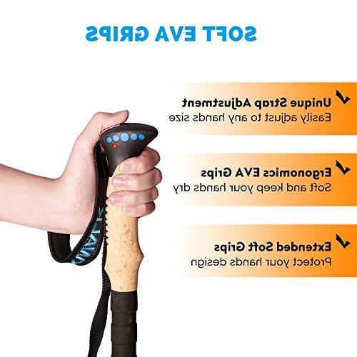 PEAK Poles - Ultra-light 3K Fiber Poles, Collapsible Hiking, Camping Sticks with Metal Flip-Lock and EVA - 1 Pair