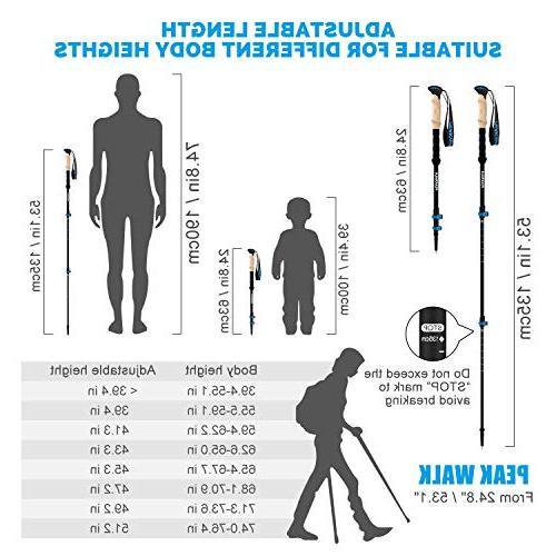 PEAK WALK Trekking Poles - 3K Collapsible Walking, Hiking, and EVA - Pair Black