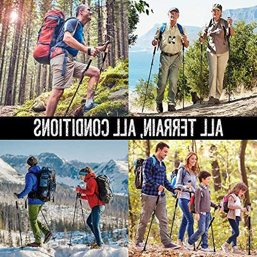 PEAK WALK Trekking Poles - 7.5 oz, 3K Fiber Collapsible Walking, Sticks with Flip-Lock and EVA - Black