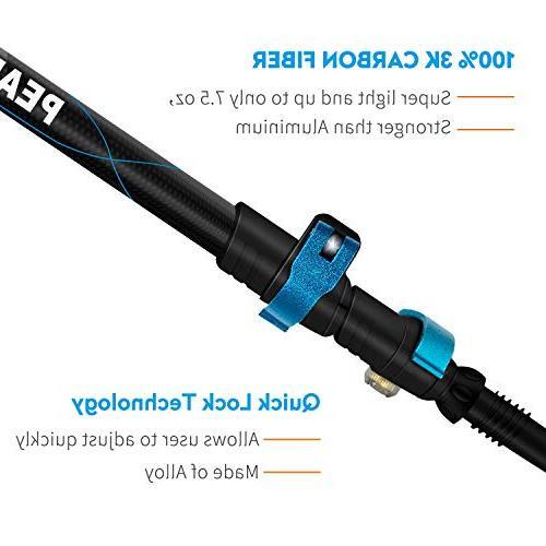 PEAK - Ultra-light oz, 3K Fiber Poles, Collapsible Hiking, Sticks Metal Flip-Lock and EVA