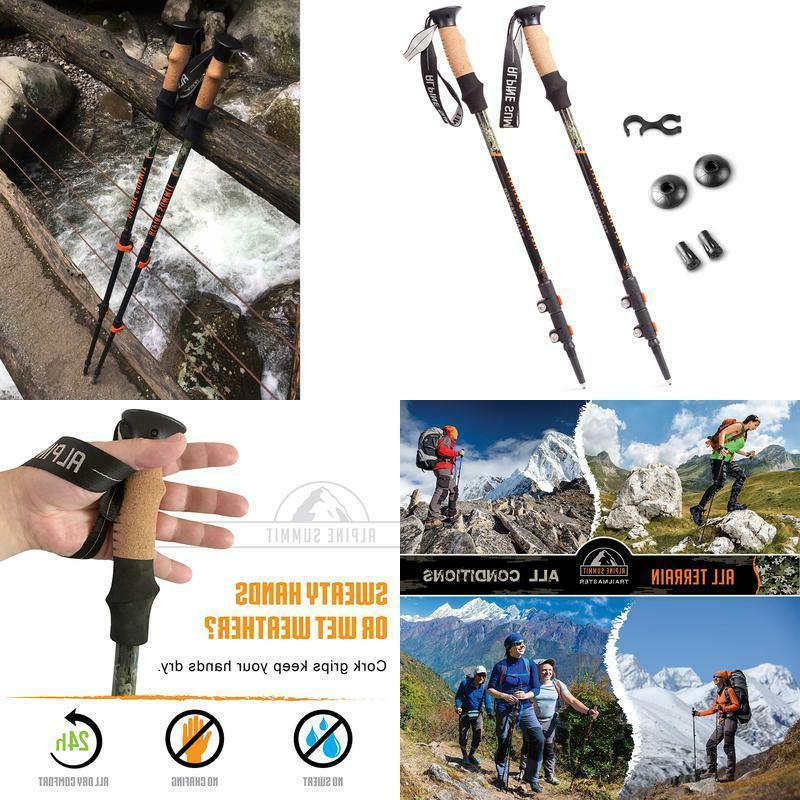 trekking poles pair collapsible hiking walking sticks