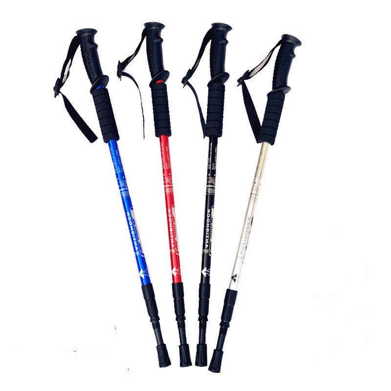 Trekking Walking Hiking Sticks Anti-shock Red