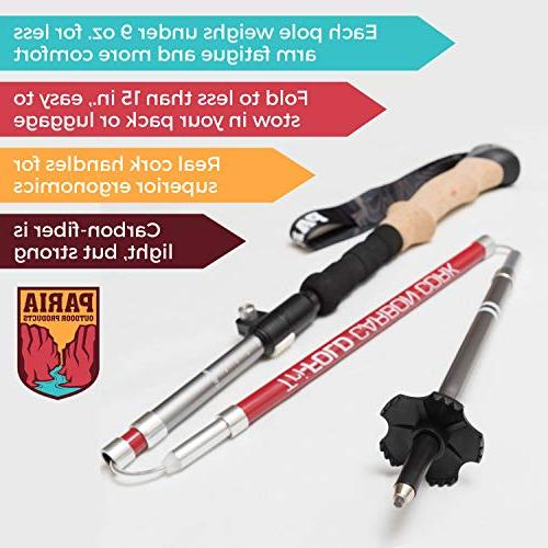 Paria Outdoor Carbon Trekking Poles/Sticks - Adjustable, and Ultralight for Hiking, Backpacking and
