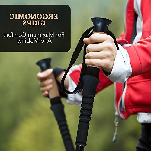 MUDDY BEAR Trekking 2-pc Pack Adjustable Hiking - Poles - Strong, Lightweight Fiber Padded