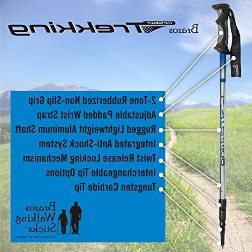 Brazos Poles: with Integrated Technology - Adjustable Trail Poles Women - Blue