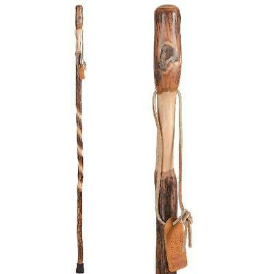 Wood Walking Stick Brazos Twisted Hickory Handcrafted Hiking