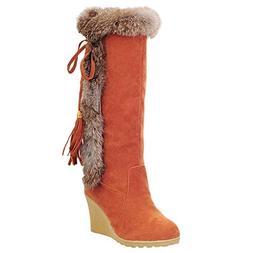 LandFox Leisure Tassel Increase Shoes,Women's Round-Toe Ke