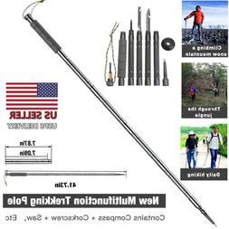 Multi-Function Walking Trekking Stick Pole Folding Defense S