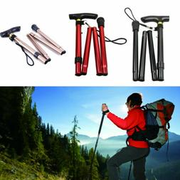 New Ultra-light Aluminum Foldable Hiking Walking Stick Trekk