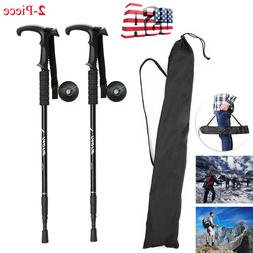 Pair 2 Trekking Walking Hiking Sticks Poles Adjustable Alpen