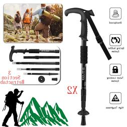 Pair 2 Trekking Walking Hiking Sticks Poles Adjustable Alumi