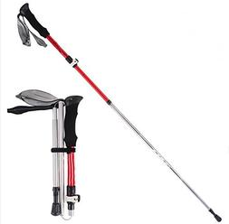 XIZH Trekking Pole - Aluminum Alloy Five-Section Folding Red