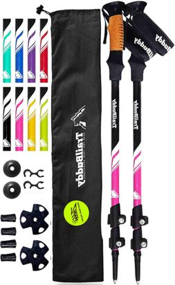 TrailBuddy Trekking Poles - 2 Pack Adjustable Hiking or Walk
