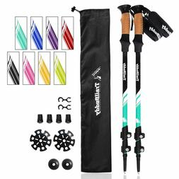 Trekking Poles - 2-pc Pack Adjustable Hiking Or Walking Stic
