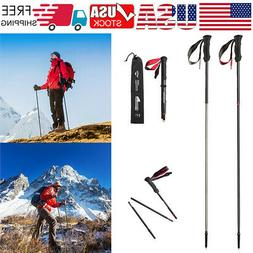 Trekking Poles Carbon Fiber Ultralight Walking Sticks 4-Sect