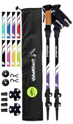 Trekking Poles Hiking Sticks - 2-pc Pack Adjustable Walking
